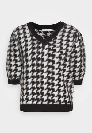 HOUNDSTOOTH SHORT BALLOON SLEEVE SWEATER - T-shirt imprimé - black/white