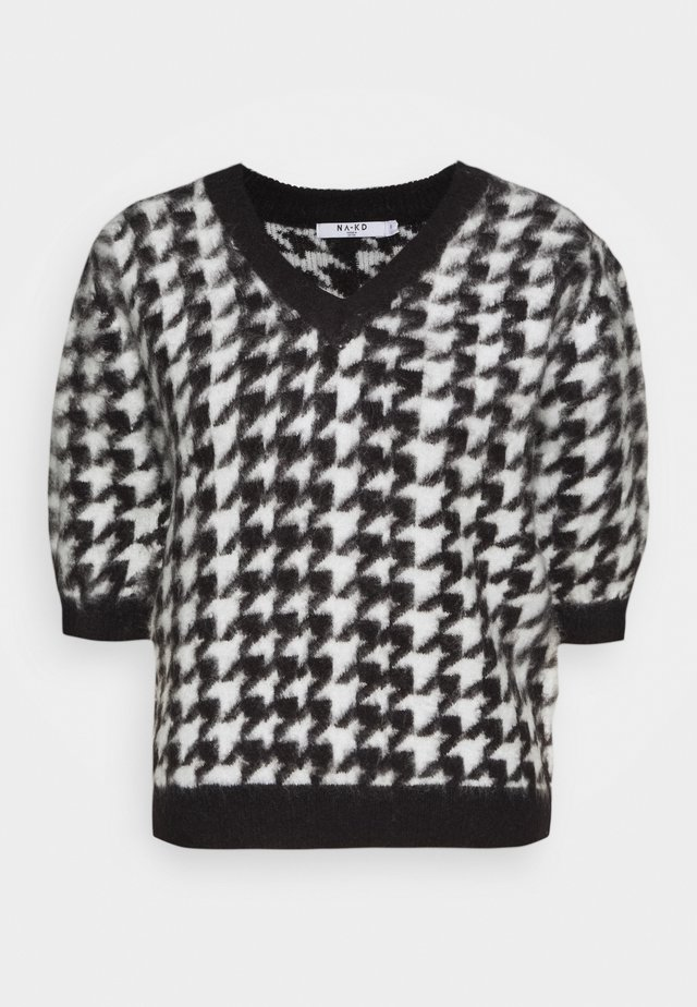 HOUNDSTOOTH SHORT BALLOON SLEEVE SWEATER - Print T-shirt - black/white