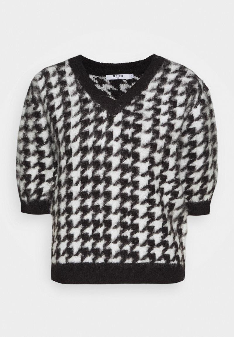 NA-KD - HOUNDSTOOTH SHORT BALLOON SLEEVE SWEATER - T-shirt imprimé - black/white