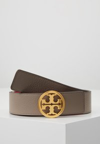Tory Burch - REVERSIBLE LOGO BELT - Cintura - gray heron/red apple/gold-coloured - 0