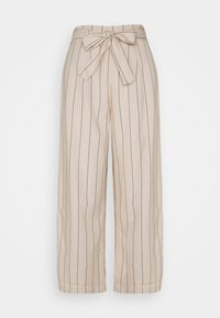VILA TALL - VIKULIO CROPPED PANTS - Trousers - natural melange/black - 0