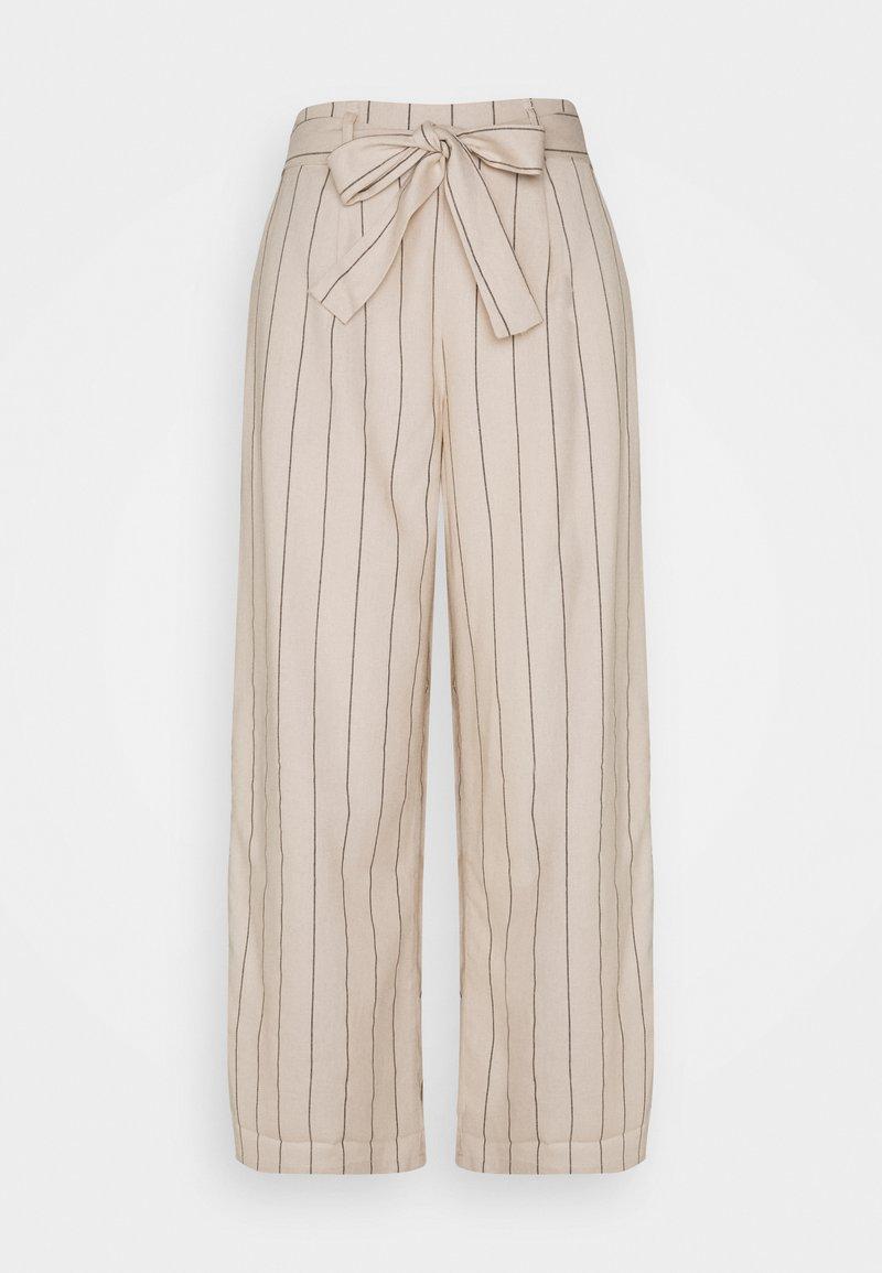 VILA TALL - VIKULIO CROPPED PANTS - Trousers - natural melange/black