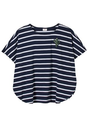 Print T-shirt - dark blue stripes