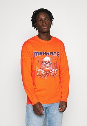 HALF BLEACH FLAME SKULL - Long sleeved top - orange