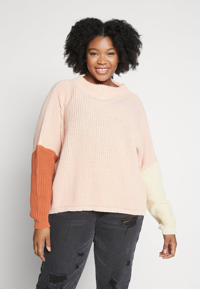 COLOUR BLOCKED JUMPER - Pullover - blush
