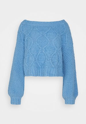 KNITTED CROP BOAT NECK - Jumper - heritage blue