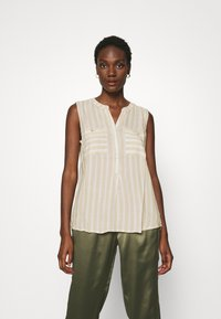 TOM TAILOR - BLOUSE STRIPED - Blouse - beige/offwhite - 0