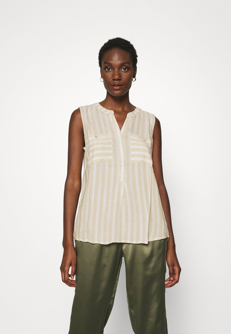 TOM TAILOR - BLOUSE STRIPED - Blouse - beige/offwhite