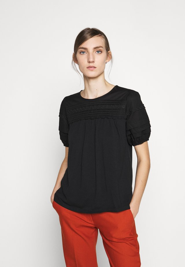 PINTUCK PUFF SLEEVE - Bluse - black