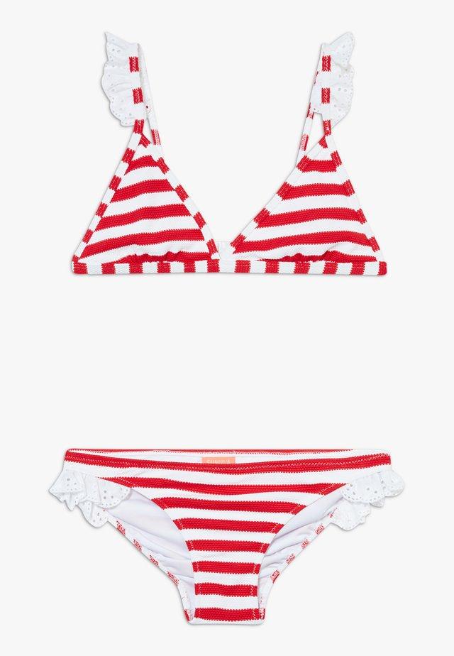 GIRLS STRIPE TRIANGLE FRILL STRAP SET - Bikini - red