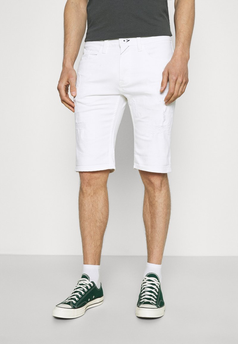 INDICODE JEANS - COMMERCIAL KEN HOLES - Shorts di jeans - offwhite