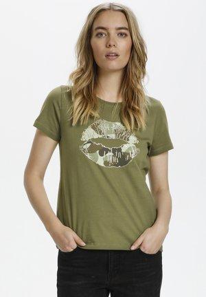 Print T-shirt - burnt olive