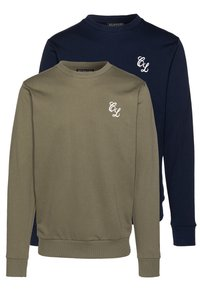 CLOSURE London - CREWNECK 2 PACK - Sweatshirt - khaki/navy - 0