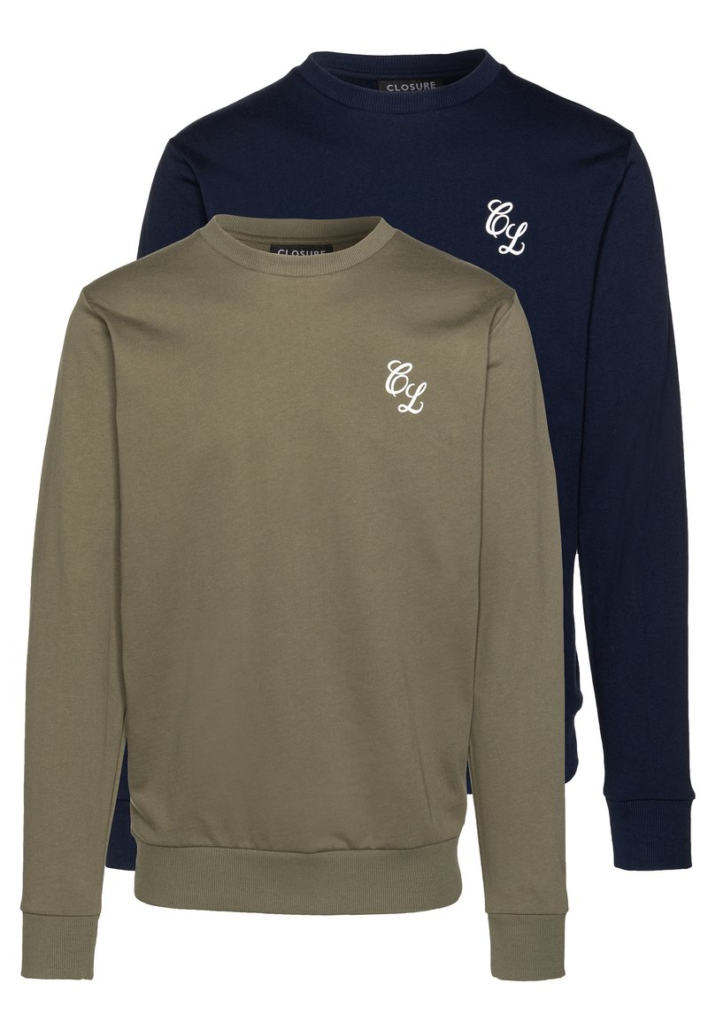 CLOSURE London - CREWNECK 2 PACK - Sweatshirt - khaki/navy