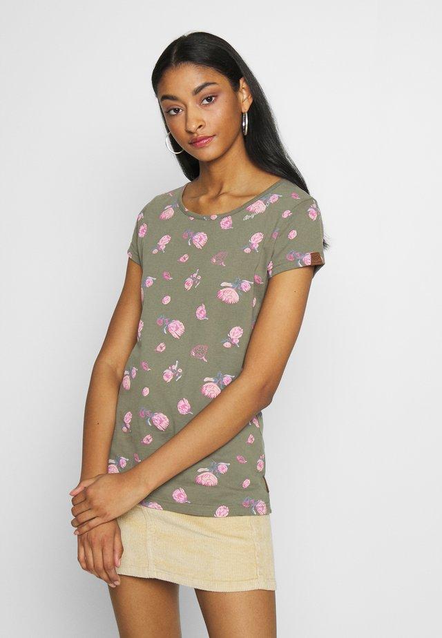 MINT FLOWERS - T-shirt z nadrukiem - olive