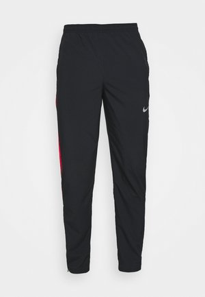 RUN STRIPE PANT - Pantalones deportivos - black/university red/silver