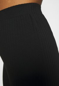 Even&Odd - Wide Leg Ribbed Trousers - Trousers - black - 4