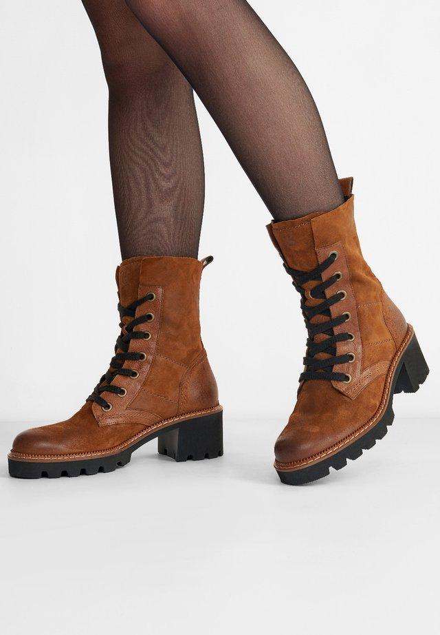 Lace-up ankle boots - cognac-braun 007