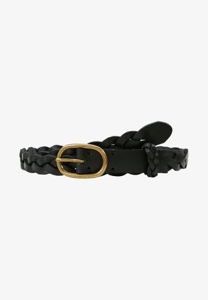 SMOOTH VACHETTA SKINNY BRAID - Braided belt - black