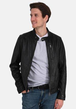 AGENT - Kožená bunda - black