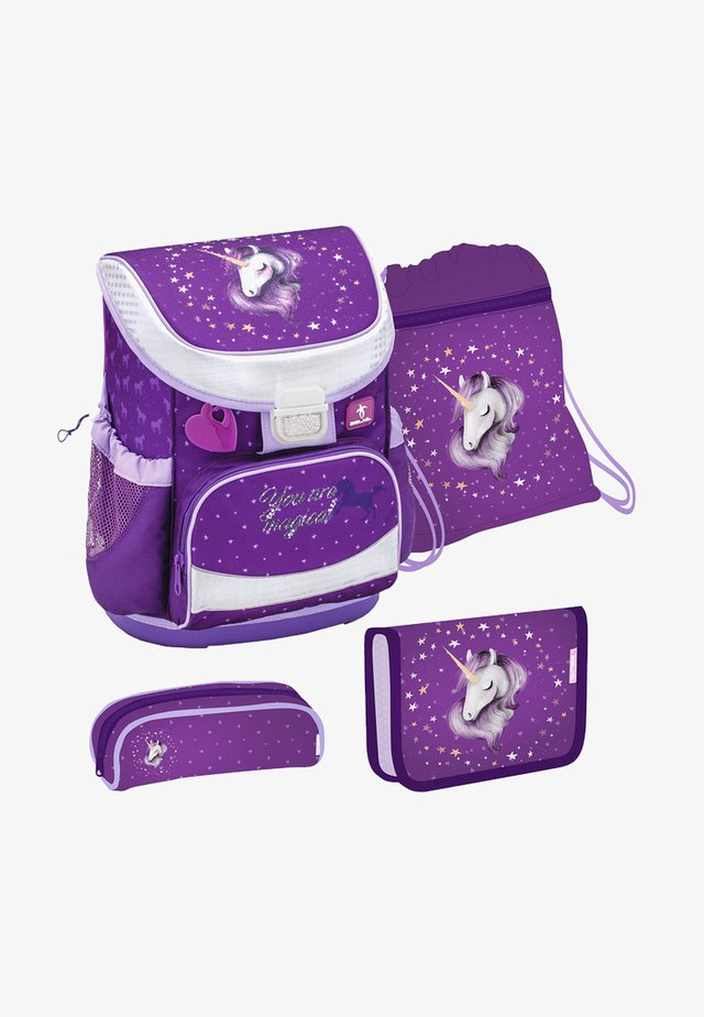 SET 4 TEILIG - School set - mottled dark purple