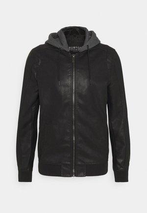 HOOD  - Faux leather jacket - black