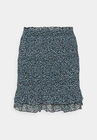 Even&Odd - Smocking mini mesh skirt - A-linjekjol - black/light blue - 3