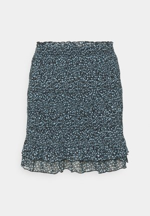 Smocking mini mesh skirt - A-linjekjol - black/light blue