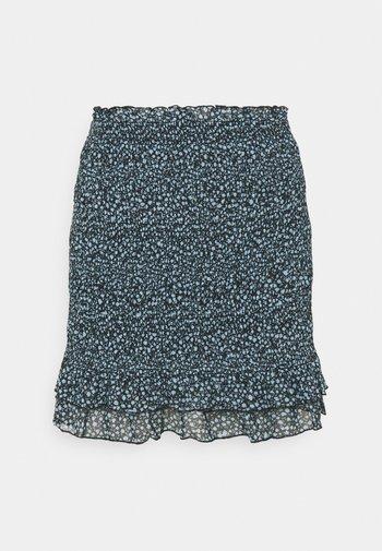 Smocking mini mesh skirt - A-line skjørt - black/light blue