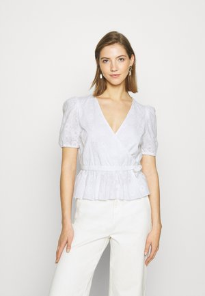 EMBROIDERED OVERLAP BLOUSE - Bluser - white