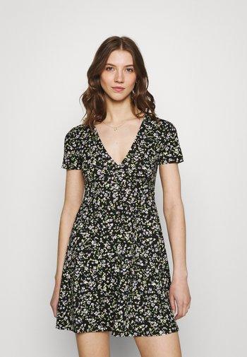 FLORAL DRESS - Jersey dress - black/green
