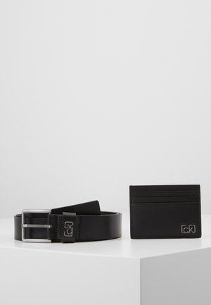 SIGNATURE BELT CARDHOLDER SET - Pasek - black