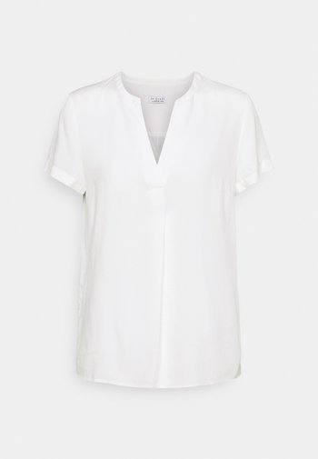 BLOUSE WITH PLEAT - Basic T-shirt - white