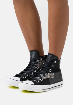 CHUCK TAYLOR ALL STAR GLITTER PATCH - Baskets montantes - black/lemon/white