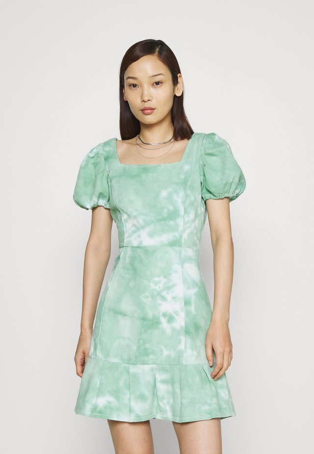 PUFF SLEEVE DRESS - Denimové šaty - green