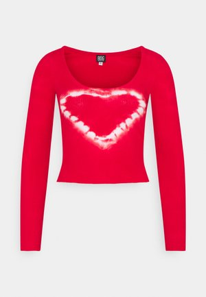 SCOOP HEART TIE DYE - Long sleeved top - red