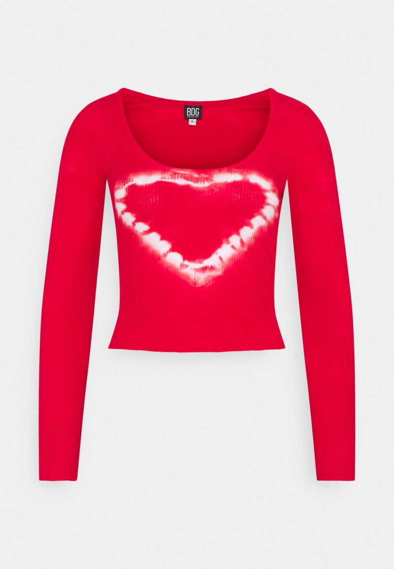 BDG Urban Outfitters - SCOOP HEART TIE DYE - Pitkähihainen paita - red