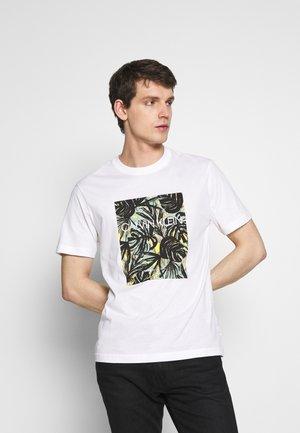 LEAVES BOX LOGO - Print T-shirt - white