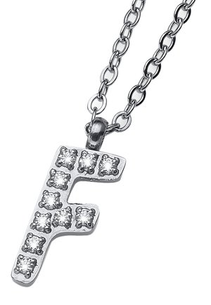 MIT ANHÄNGER INITIAL F STE - Necklace - weiß