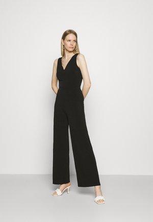 Punto wide leg deep v sleeveless Occasion jumpsuit - Overal - black