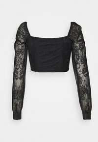 Glamorous - CROP TOP WITH LONG SLEEVES AND SQUARE NECKLINE - Blouse - black - 1