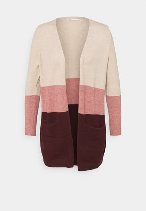 ONLQUEEN  LONG CARDIGAN - Cardigan - sand/dusty pink/windsor wine