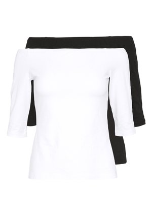 2ER PACK  - Camiseta de manga larga - white/black