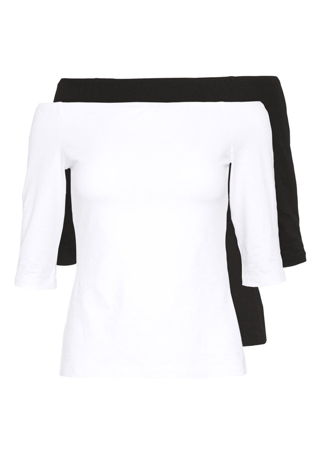 2ER PACK  - T-shirt à manches longues - white/black