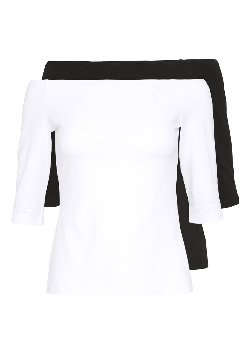 Even&Odd Petite - 2ER PACK  - Long sleeved top - white/black