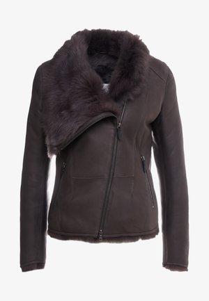 SHORT JACKET - Leather jacket - toscana dark mist