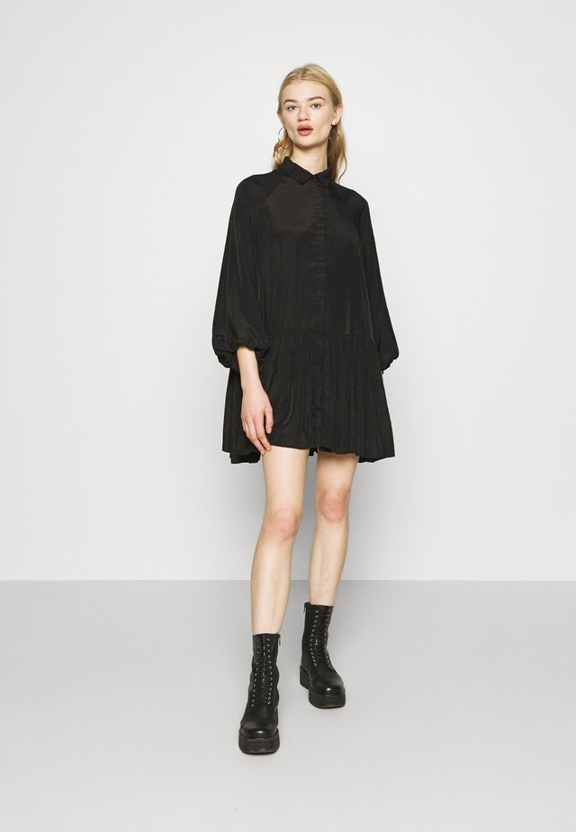 TIERED DRESS - Shirt dress - black
