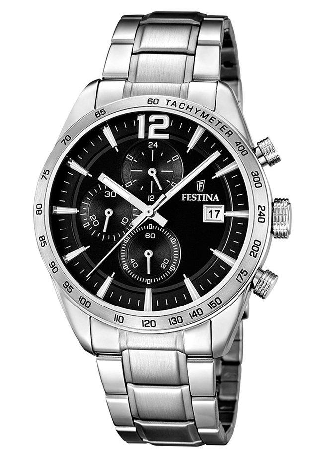 Chronograph watch - schwarz/silberfarben