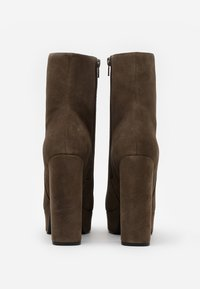 Even&Odd - LEATHER - High heeled ankle boots - khaki - 3
