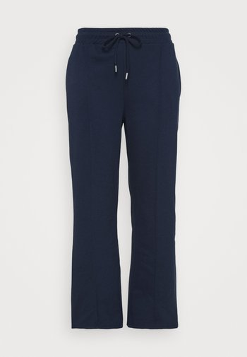 PLEAT FRONT WIDE LEG JOGGERS - Trousers - navy